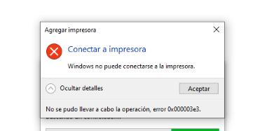 Error impresión 0x000003e3  (específicamente EPSON LX-350 en Windows 10)